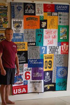 Boy next to hanging Graduation T-shirt Quilt Hanging Quilts, Quilted Wall Hangings, Quilting Tips, Graduation, Tee Shirts, Shirt Quilts, Painting, T Shirts, Painting Art