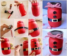 Make a Cute Mason Jar Santa Like This One for The Coming Christmas Diy And Crafts Idea Christmas Mason Jars, Diy Christmas Gifts, Christmas Projects, Christmas Fun, Holiday Crafts, Christmas Decorations, Beautiful Christmas, Jar Crafts, Bottle Crafts