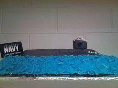 "submarine birthday cake for ""Navy"" birthday party at the natatorium."