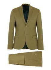 Khaki Cotton Skinny Suit