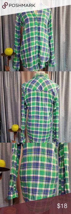 🌻🌺🌻HOLLISTER PLAID BOYFRIEND TUNIC!! SIZE:medium   BRAND:Hollister   CONDITION:like new, no flaws (colors best seen in last photo)   COLOR:green/pink/yellow/white   🌟POSH AMBASSADOR, BUY WITH CONFIDENCE!   🌟CHECK OUT MY OTHER ITEMS TO BUNDLE AND SAVE ON SHIPPING!   🌟OFFERS WELCOME!   🌟FAST SHIPPING! Hollister Tops