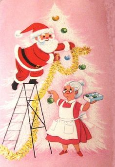 New Ideas For Wall Paper Retro Pink Vintage Christmas Vintage Christmas Images, Old Christmas, Old Fashioned Christmas, Retro Christmas, Vintage Holiday, Christmas Pictures, Christmas Mantles, Victorian Christmas, Christmas Ornaments