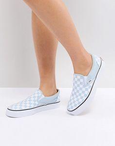 Vans Slip On Sneakers In Pastel Blue Checkerboard