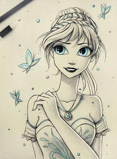 Another Disney fan art! You can also see Let it snow and Sisters , If you like this artwork ^^ Princess Anna Disney Princess Drawings, Disney Sketches, Disney Drawings, Pencil Art Drawings, Art Drawings Sketches, Cute Drawings, Cartoon Cartoon, Disney Fan Art, Punk Disney