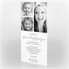 Enkel invitasjon til konfirmasjon.  Prisen inkluderer: Bilde og din personlige tekst, trykt på et hvitt, tykt papir og med matchende konvolutter.  Mot et tillegg kan du velge designpapir og konvolutter, samt trykk av navn i kortet og navn og adresser på konvolutten.