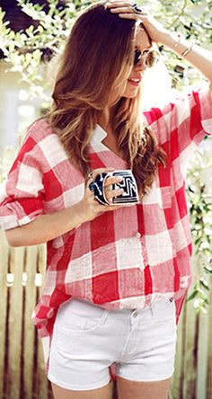 Cupshe Red and White Plaid Shirt