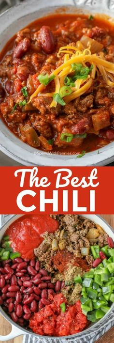 This is the best chili recipe! A big pot of ground beef chili loaded with beef and beans is the perfect game day food! Chilli Recipes, Meat Recipes, Cooking Recipes, Recipies, Dinner Dishes, Food Dishes, Main Dishes, Best Easy Chili Recipe, Ground Beef Chili
