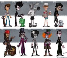 Jeff Victor, Johnny Depp Evolution, Los Angeles, USA 2012, comic art