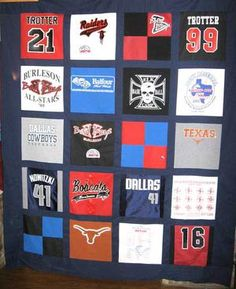 Pictures of T-Shirt Quilts Help You Design a Quilt: Sports Themed T-Shirt Quilt