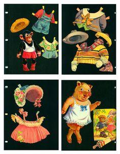 1950 Vintage Animal Paper Dolls Saalfield 2598 by EvelynnsAlcove, $15.00
