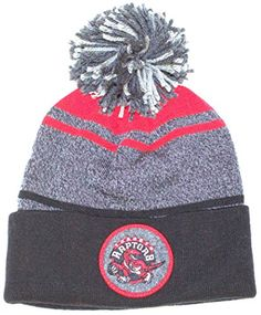 f79c2ef5830 Amazon.com   NBA Officially Licensed Toronto Raptors Mitchell   Ness Gray  Red Black Cuffed Pom Beanie Hat Cap Lid   Sports   Outdoors