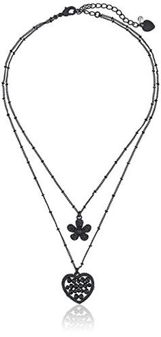 "Betsey Johnson ""Pitch Black"" Woven Faceted Bead Heart and Pave Flower Double Pendant Necklace Betsey Johnson http://www.amazon.com/dp/B0113PABMM/ref=cm_sw_r_pi_dp_01Vexb1PCZV1N"