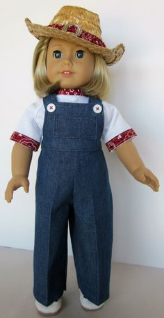 18 inch American Girl Doll Clothes - Cowboy Hat with Overalls and Tee