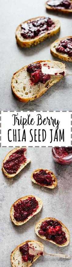 Triple Berry Chia Seed Jam - Make it in 15 minutes and keep it in the fridge for up to 2 weeks! Vegan, vegetarian, gluten free, refined sugar free. Perfect for healthy PB&J, yogurt topping, breakfast toast, and more!