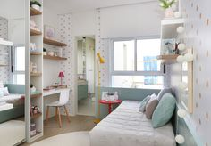 I love this room because has a bathroom and the colors and the room are so pretty Ikea Girls Bedroom, Dream Bedroom, Home Bedroom, Bedroom Decor, Cute Bedroom Ideas, Girl Bedroom Designs, Design Bedroom, Green Boys Room, Furniture For Small Spaces