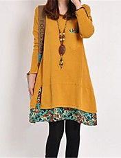 Casual vestido de la flor de la manga larga d... – USD $ 17.49