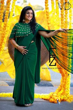 Stunning Roja Selvamani in Firoz Design Studio.Stunning bottle green color designer saree with embroidered cape . Photography by Vinay Dasari VD Galleries.To contact : 9505340228 / 8142049755 . Saree Jacket Designs, Saree Blouse Neck Designs, Saree Blouse Patterns, Fancy Blouse Designs, Saree Wearing Styles, Stylish Blouse Design, Blouse Models, Outfit Trends, Draped Dress