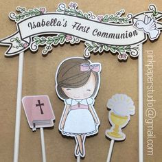 First Communion Cake Banner Baptism Cake Banner Custom First Communion Banner, Baptism Banner, Communion Cakes, First Communion Dresses, First Holy Communion, Personalized Candy Bars, Cake Banner, Cute Cards, Custom Cakes