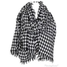 Black And White Houndstooth Blanket Scarf ❤ liked on Polyvore featuring accessories, scarves, houndstooth scarves, houndstooth shawl, black and white blanket scarf, black and white shawl and black and white scarves
