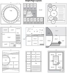 Single-Page Layouts // Great website with sketch layout templates for scrapbooks.