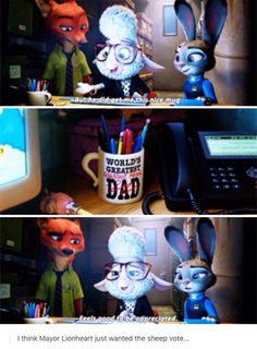 Zootopia--> ehm... O.o I don't want to interrupt but.... this mug.... it's... it's Chuck's mug... from Supernatural...