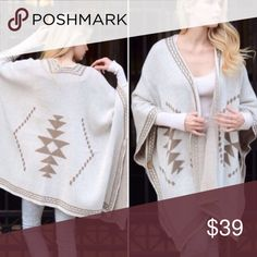 Chic Best Selling  Ivory Poncho Kimono Cardigan Nwot Nwot best selling diamond pattern poncho super soft 100% acrylic great for layering . Search Info : Oversized Slouchy Cardigan Vivacouture Sweaters Shrugs & Ponchos