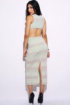 #clubwear21.com #dress #fashion green metallic chevron cut out back maxi dress-$49.00