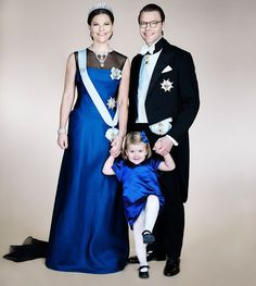 New official portrait of Swedish Crown Royal Family - Crown Princess Victoria, Prince Daniel and Princess Estelle