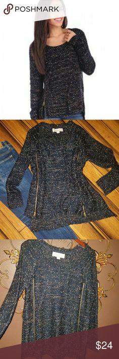 Cable Sweater Vintage Havana Marled Zippered Sweater size Medium Oversized bulky fit Vintage Havana Sweaters Crew & Scoop Necks