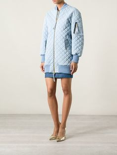 Moschino quilted long bomber jacket