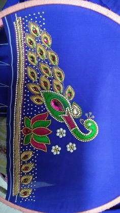 Peacock Blouse Designs, Best Blouse Designs, Simple Blouse Designs, Bridal Blouse Designs, Work Blouse, Fun Time, Hand Designs, Embroidered Blouse, Embroidery Designs