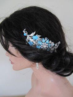 Blue vintage wedding hair comb LARGE bridal comb door BygoneB