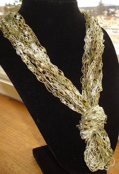 Knotted Trellis Yarn necklace  FREE US SHIPPING by RaggityBaggity, $6.50