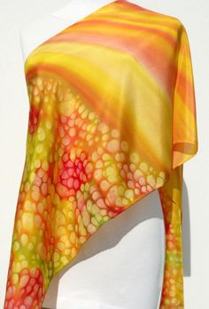 Gold hand painted silk scarf red orange yellow green Sun