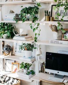 Work space envy. Love all the plants via @ruemagazine