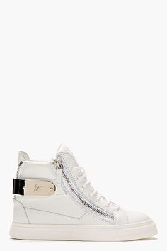 so nice….Giuseppe Zanotti White Leather Metal-trimmed London Sneakers for women | SSENSE
