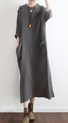 gray casual  stylish linen dress pockets long sleeve sundress embroidery vintage maxi dress