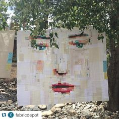 Love this! #Repost @fabricdepot ・・・ Hello @melissaaverinos! So good to see your Face. #sistersoutdoorquiltshow #artquilts #quilts