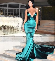 Emerald emerald green gown, abyss by abby, rose gown, evening dresses, sexy Formal Dresses With Sleeves, Satin Dresses, Sexy Dresses, Cute Dresses, Fashion Dresses, Gowns, Emerald Gown, Emerald Dresses, Rose Gown