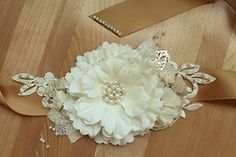 Handmade Rustic Wedding Floral Bridal Champagne Color Sash with Lace and Fabric Flowers 90 Inches Long All Items Ship Free With Another Purchase *** Click image for more details.