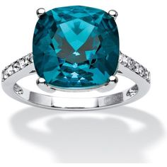 Seta Jewelry Cushion-Cut Denim Blue Crystal Ring Made With Swarovski... ($80) ❤ liked on Polyvore featuring jewelry, rings, london blue, sterling silver crystal ring, anchor ring, blue crystal ring, blue jewelry and cushion cut ring