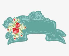 Vintage Flowers Ribbon label material picture, Retro Material ...