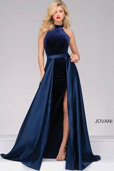 Navy Velvet Dress with a Satin Over Skirt 45182