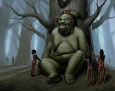 """Kapre is a Philippine mythical creature that could be characterized as a tree demon, but with more human characteristics. It is described as being a tall, brown, hairy male with a beard. Kapres are normally described as smoking a big tobacco pipe, whose strong smell would attract human attention. The term kapre comes from the Arabic """"kaffir"""" meaning a non-believer in God."""