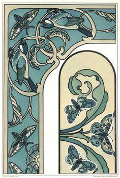 Finches, Art Nouveau, Antique Matted Chromolithograph, Lyongrun 1899