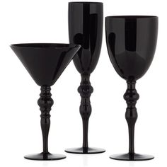 Onyx Stemware - Sets of 4 (1,465 PHP) ❤ liked on Polyvore featuring home, kitchen & dining, drinkware, kitchen, decor, fillers, drinks, black stemware, colored stemware and black goblets