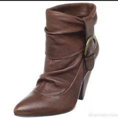 Jessica Simpson Hazell Boot in Brown Leather Ankle Buckle Accent Boots Sz 10