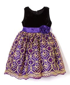 Purple & Gold Sequin A-Line Dress - Infant, Toddler & Girls