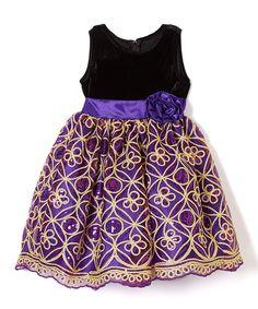 Purple & Gold Sequin A-Line Dress - Infant, Toddler & Girls