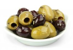 image of mixed olives with rosemary and lemon